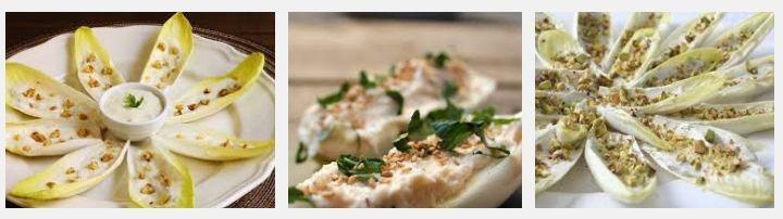 Presentación de endivias con queso roquefort