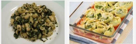 pasta con queso y espinacas
